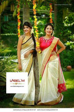 Kerala saree Label 'm Set Saree, Saree Dress, Sari Blouse, Ethnic Outfits, Indian Outfits, Onam Saree, Kasavu Saree, Kerala Saree Blouse Designs, Indische Sarees