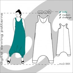 Sporty-back Harem-style Jumpsuit Pattern - comfy and elegant. Centre-Back…