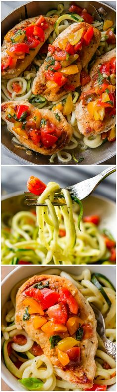 Easy, healthy, and light skillet bruschetta chicken all made in 1 pan with zucchini noodles! The secret's in the marinade! Recipe found on sallysbakingaddiction.com
