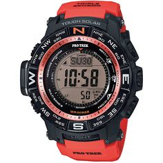 Casio Men's PRW-3500Y-4CR Atomic Digital Watch with Red Resin Band