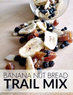 This delicious trail mix recipe is made with dried fruit and almonds and is inspired by the taste of banana nut bread.