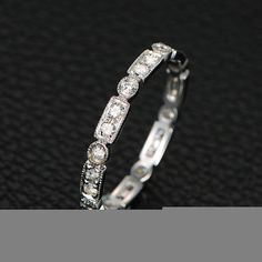 Stackable Pave 1.5mm VS Charles & Colvard Moissanite by ThisIsLOGR