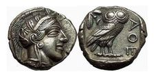 ATTICA: ATHENS, C.449 BC. SILVER TETRADRACHM. FULL CRESCENT! STUNNING SUPERB! ATTICA: ATHENS Silver Tetradrachm (25mm, 17.09 gm.) Athens, c.449-430 B.C. Helmeted head of Athena right, [with dotted neck trunication], wearing round earring, wire necklace and crested Attic helmet ornamented with three olive leaves over visor and spiral palmette on bowl. AΘΕ, Owl with prong tail standing right, crescent moon and olive sprig behind, oyline of square die visible around. Reference: Starr pl.xxii.