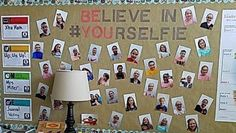Creative use of classroom selfies can help raise self-esteem, increase parent involvement, and encourage engagement of every student. Try these ideas and find out for yourself! 4th Grade Classroom, Middle School Classroom, Classroom Setting, Classroom Setup, Classroom Design, Future Classroom, Classroom Organization, Classroom Management, Classroom Walls