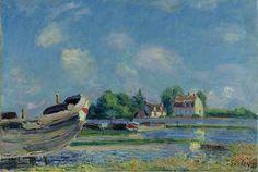 Alfred Sisley \\ Boats on Repair at Saint-Mammes, 1880