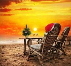 Photo about Christmas tree, Two glasses of champagne and Christmas hat on the chair on the beach with view to the ocean and orange sunset sky in Goa, India. Image of holiday, decoration, ocean - 22324967 Tropical Christmas, Beach Christmas, Coastal Christmas, Christmas Hat, Christmas In July, Merry Christmas, Caribbean Christmas, Aussie Christmas, Christmas Decor