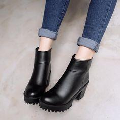 b1703f225a2e Women Ankle Boots Zipper Round Toe High Heels Platform Shoes Woman 7576 Platform  Shoes