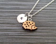 Wooden Hedgehog Necklace Hedgehog Charm by TheMonkeyCharmer