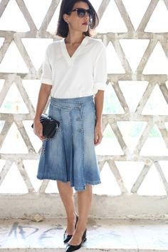 I love Fita Métrica: Old Midi Denim Skirt