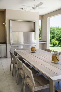 Marcela Parrado Arquitectura, Casa 13 - Face Tutorial and Ideas Parrilla Interior, Built In Braai, Modern Porch, Sweet Home, Cuisines Design, Kitchen Tiles, Floors Kitchen, Cabinet Design, Modern Design