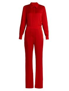 Effortlessly chic choice of outfit, pair it with a simple heel for an instant elegance.  #red #redjumpsuit #elegance #jumpsuit