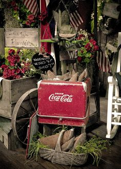 coke cooler in outdoor design--I have one and use it as table (just flip the lid over).