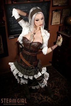 Another shot from Kato's office, which has proven time and time again to be a really great location for photos. And for those curious: Corset by Ethereal Threads. Necklace by Roland Marquis. Boots: eBay. Gloves: Home Depot. Everything else: Hand-made.