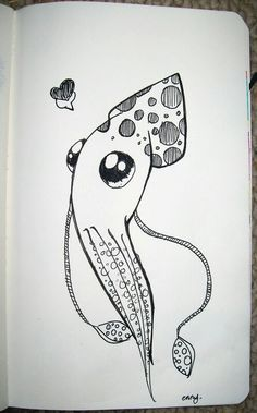 Squid so cute Squid Drawing, Ocean Drawing, Animal Sketches, Animal Drawings, Pencil Art Drawings, Drawing Sketches, Squid Tattoo, Octopus Tattoos, Sweet Drawings
