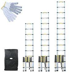 Linxor France ® Échelle Télescopique Pro 2.60m, 3.20m ou 3.80m en Alu + Housse de Transport et gants de maintien – Norme EN131