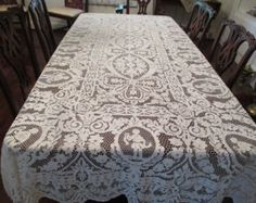 Antique White And Blue Runner With Open Cut Work Hand Embroidery Circa1920 Runners