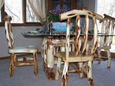 Diamond willow table and chairs.