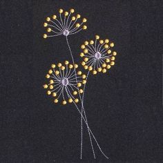 Embroidery Designs Dear Dandelion Free Machine embroidery design More - French Knot Embroidery, Embroidery Flowers Pattern, Free Machine Embroidery Designs, Crewel Embroidery, Beaded Embroidery, Simple Embroidery, Embroidery Ideas, Embroidery Tattoo, Modern Embroidery