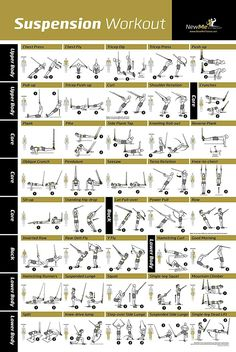 Awesome Suspension exercise poster for TRX workouts! I've never seen so many… Awesome Suspension exercise poster for TRX workouts! I've never seen so many TRX exercises all in one place. And the graphic shows the muscles engaged during the exercise! Suspension Training, Suspension Workout, Trx Suspension, Pilates Training, Training Fitness, Strength Training, Training Exercises, Body Training, Fitness Workouts