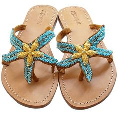 234195fa47bcaf Mystique s Starfish flip flops in turquoise... I want these!   149 Starfish
