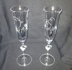 Disney Beauty and the Beast Crystal Champagne Flute Set