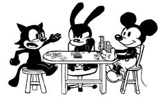 felix the cat, Oswald the lucky rabbit, mickey mouse