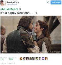 The Musketeers - Series III BtS filming via Jessica Pope's Twitter (D'Artagnan & Constance)