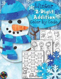 Winter Addition with Regrouping Color-by-Code Printables - Modern Design Winter Activities, Classroom Activities, Classroom Fun, Math Games, Fun Math, Teaching Resources, Teaching Ideas, Thing 1, Elementary Math