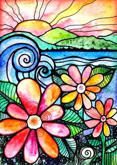 From a Distance..watercolor and ink