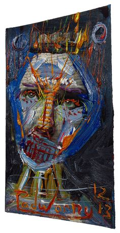 THE WORDS CAN , Oil Paint over acrylic polymer magazine image on Canson Bristol of 10.5 by 6.5 in. Catalogue Reference: o14 2013