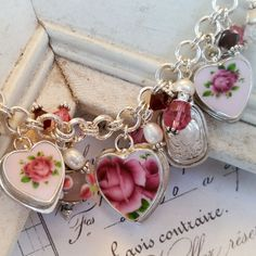 Royal Albert New Country Roses Pink Broken China Jewelry Sterling Bead Charm Bracelet