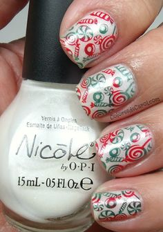 three coats of It's All About The Glam from Nicole By OPI,  Konad polishes in red and green and the image plate BM306 from Bundle Monster.