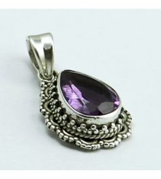 Tropical !! Purple Amethyst 925 Sterling Silver Pendant, Weight: 4.9 g, Stone - Amethyst, Size - 3.0 x 1.5, Wholesale Orders Acceptable, All Pieces have 925 Stamp
