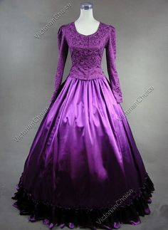 Civil War Victorian Satin Ball Gown Prom Dress Reenactment Halloween Costume