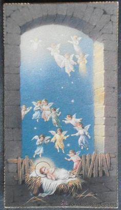 (0389)ESTAMPA 10X5.5 CM APROX,ESCENA RELIGIOSA,CONSERVACION: (Postales - Religiosas y Recordatorios)