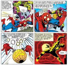 Spider-Man gets walloped by a Pumpkin Bomb in Amazing Spider-Man Steve Ditko, Spiderman Art, Green Goblin, My Favorite Image, A Pumpkin, Amazing Spider, Marvel Comics, Nerdy, Childhood