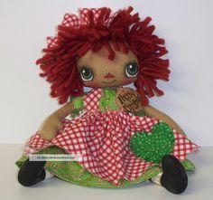 primitive raggedy dolls   Primitive Folk Art Raggedy Doll Annie Christmas Tag Country Ornie ...