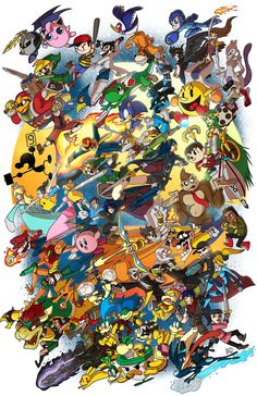 This picture is an art page depicting a video game that I really find interesting called Super Smash Bros. It's a multiplayer type game where many game characters come together to fight. Super Smash Bros Brawl, Nintendo Super Smash Bros, Nintendo World, Nintendo Sega, Nintendo Games, Nintendo Characters, Video Game Characters, Super Smash Ultimate, Bartop Arcade