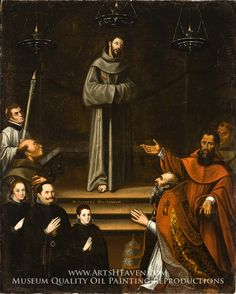 Saint Francis of Assisi Appearing before Pope Nicholas V, with Donors by Antonio Montufar. Museum Quality Oil Painting Reproductions On Canvas.