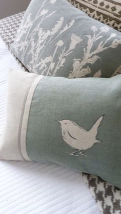 hand printed little eau de nil wren cushion by helkatdesign