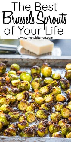 The Best Brussels Sprouts of Your Life! With only 4 ingredients & some seasoning, this recipe for garlic Parmesan Roasted Brussels Sprouts will really be The Best Brussels Sprouts of Your Life! This recipe really couldn't be any simpler or more delicious. Healthy Recipes, Veggie Recipes, Pasta Recipes, Vegetarian Recipes, Steak Recipes, Shrimp Recipes, Recipes For Vegetables, Cooked Vegetable Recipes, Free Recipes