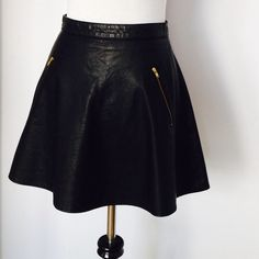 """Free People high waisted leather skirt Faux leather, polyurethane and lining is rayon, zipper pockets on the side, zipper and hook in the back, high waisted, 15 1/2"""" Free People Skirts"""