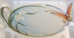 "Franz Porcelain Papillon Butterfly Sculpture Large 18"" Handled Platter/Tray NEW #FranzPorcelainCollection"