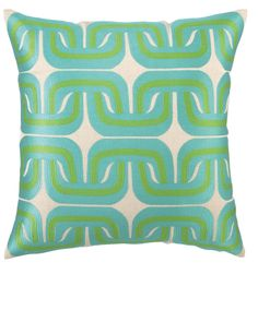 Geo Links Embroidered Pillow in Blue Green by Trina Turk NEW Modern Throw Pillows, Designer Throw Pillows, Decorative Pillows, Kids Furniture, Luxury Furniture, Green Pillows, Trina Turk, Cool, Blue Green