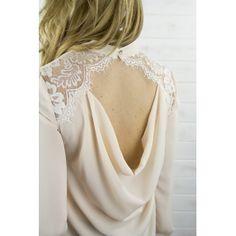 Blusa ESCOTE ROSA, blusa de gasa rosa con escote en espalda de encaje.