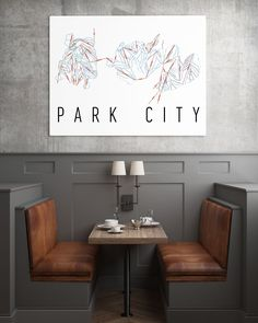 **MADE IN THE USA** You'll love this amazing Park City Mountain Art Print! This Park City ski map shows all of the trails and lifts at Park City. This will fit any decor, and also makes a great gift. Booth Seating, Banquette Seating, Restaurant Booth, Restaurant Design, Kitchen Booths, Modul Sofa, Casa Loft, Interior Decorating, Interior Design