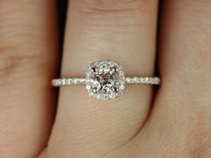 Barra Ultra Petite Size Version 14kt Rose Gold Thin Morganite Cushion Halo Engagement Ring (Other Metals and Stone Options Available). $570.00, via Etsy.