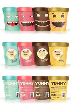 "Yummy IceCream / Joao Ricardo Machado ""This is a project for an ice cream identity and package family for kids. It was a final college project created for the Graphic Design Project class in the College of Arts and Design Caldas da Rainha, Portugal. The faces expressions interacts with the kids by showing how fun and delicious is to eat ice cream and turn the package into a collectible and reusable object for kids fun. Particularly, i always feel like laughing when i look at theses happy…"