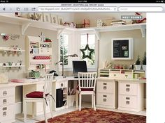 Craft room, sewing room, hobby room, or home office Craft Room Storage, Room Organization, Storage Ideas, Fabric Storage, Paper Storage, Wall Storage, Wall Shelves, Corner Shelving, Ceiling Shelves