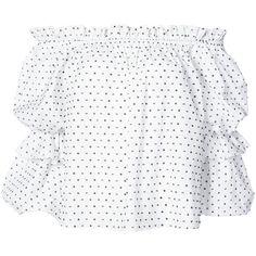 Caroline Constas polka dot blouse (£300) ❤ liked on Polyvore featuring tops, blouses, white, white blouses, white tops, cotton blouse, dot blouse and polka dot blouse